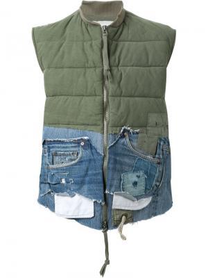 Жилет с джинсовыми деталями Greg Lauren. Цвет: зелёный