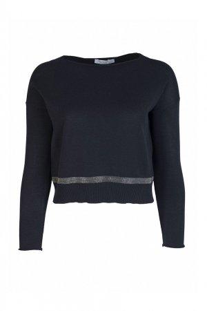 Темно-синий пуловер с серебристой отделкой Fabiana Filippi