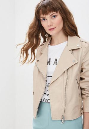 Куртка кожаная Imperial. Цвет: бежевый