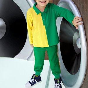 Для мальчиков Рубашка-поло двухцветный с разрезом SHEIN. Цвет: многоцветный