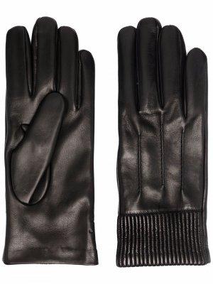 Перчатки с манжетами в рубчик Salvatore Ferragamo. Цвет: черный
