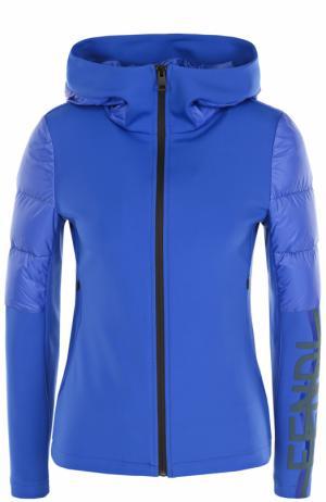 Ветровка с утепленными вставками и капюшоном Fendi. Цвет: синий
