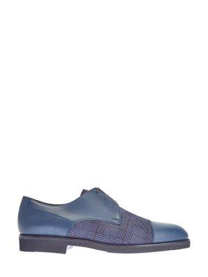 Кожаные туфли-дерби с принтом «Принц Уэльский» MORESCHI. Цвет: синий