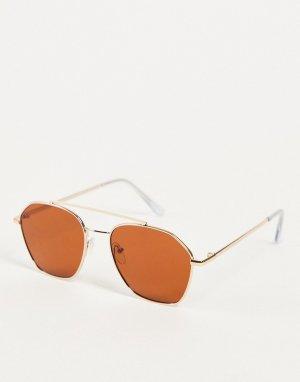 Солнцезащитные очки в золотистой оправе с планкой -Золотистый Only & Sons