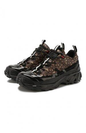 Комбинированные кроссовки Burberry. Цвет: коричневый