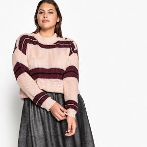 Пуловер с воротником-стойкой, из тонкого трикотажа CASTALUNA. Цвет: розовая пудра