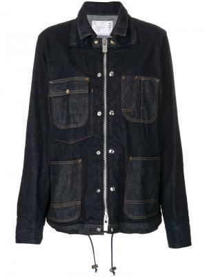 Джинсовая куртка-рубашка Sacai. Цвет: синий