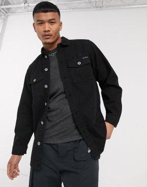 Черная джинсовая рубашка с карманами -Черный Liquor N Poker