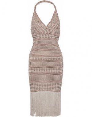 Короткое платье HERVÉ LÉGER. Цвет: бежевый