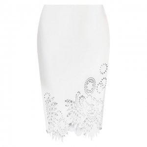 Кожаная юбка Dries Van Noten. Цвет: белый