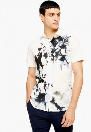 Рубашка джинсовая Topman. Цвет: бежевый