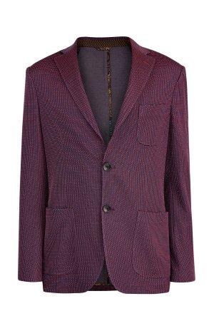 Пиджак из хлопка в неаполитанском стиле с микро-принтом клетку ETRO. Цвет: бордовый