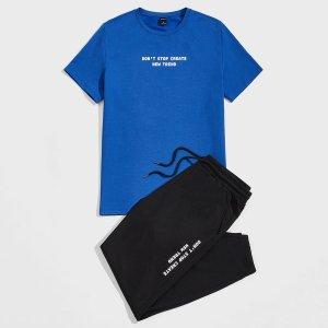 На кулиске с карманами Лозунг Институтский Мужской Комплект из двух предметов SHEIN. Цвет: многоцветный