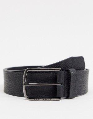 Черный кожаный ремень BOSS