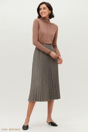 Плиссированная юбка длины миди с принтом клетка LOVE REPUBLIC