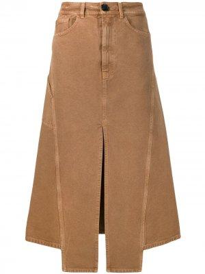 Джинсовая юбка миди с разрезом LANVIN. Цвет: коричневый