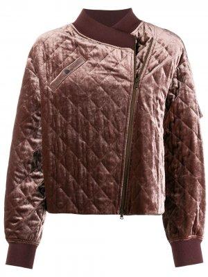 Куртка-бомбер асимметричного кроя Brunello Cucinelli. Цвет: красный