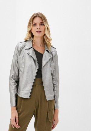 Куртка кожаная W.sharvel. Цвет: серебряный