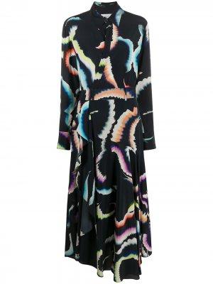 Платье с графичным принтом A.L.C.. Цвет: синий