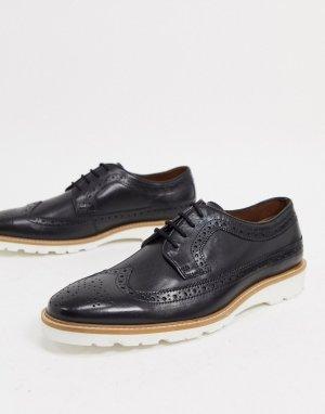 Черные кожаные туфли со шнуровкой -Черный Dune