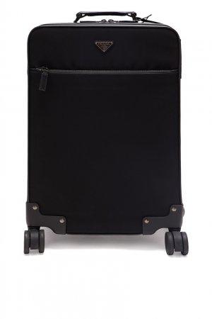 Черный чемодан из текстиля Prada. Цвет: черный