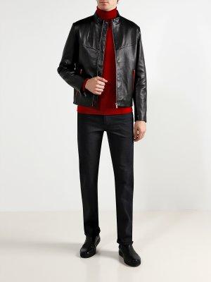 Кожаная куртка Lyes HUGO. Цвет: chernyy