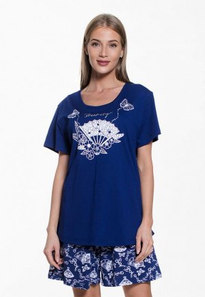 Пижама Vienetta. Цвет: синий