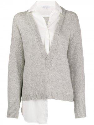 Пуловер с V-образным вырезом Patrizia Pepe. Цвет: серый