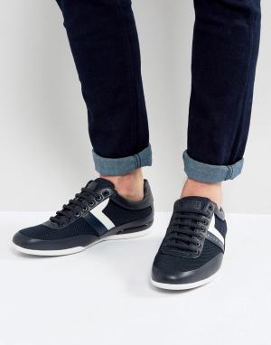 Темно-синие кроссовки с сетчатой отделкой by Hugo Boss Green. Цвет: темно-синий