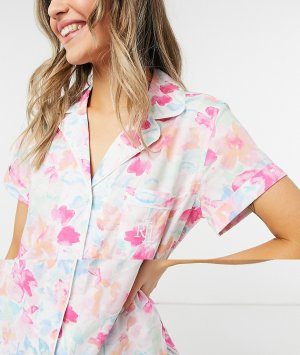 Пижама с лацканами, шортами и разноцветным цветочным принтом Lauren by Ralph Lauren-Многоцветный