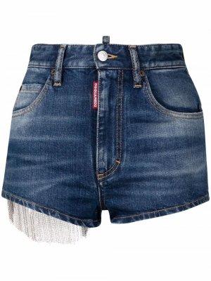 Джинсовые шорты с бахромой Dsquared2. Цвет: синий
