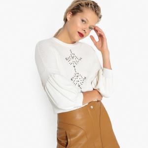 Пуловер с украшениями LA REDOUTE COLLECTIONS. Цвет: белый,серый,синий