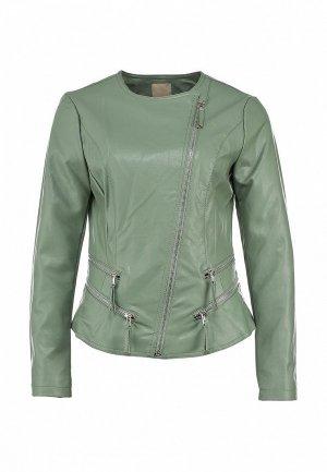 Куртка кожаная Silvian Heach SI386EWBHW39. Цвет: зеленый