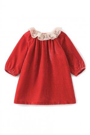Красное платье с кружевным воротником Flavili Bonpoint. Цвет: красный