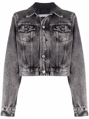 Джинсовая куртка с заклепками Alessandra Rich. Цвет: серый