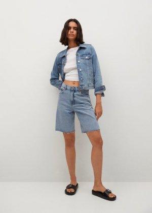Джинсовая куртка из хлопка - Vicky Mango. Цвет: синий средний