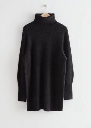 Вязаное мини-платье с высоким воротом &Other Stories. Цвет: черный