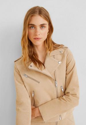 Куртка кожаная Mango - TEXAS5. Цвет: бежевый