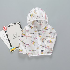 Белый на молнии С карикатурой Повседневный Пальто для маленьких мальчиков SHEIN. Цвет: белый