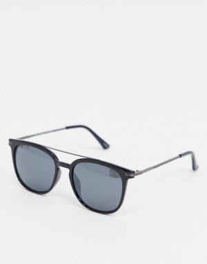 Солнцезащитные очки с планкой в стиле ретро -Черный Selected Homme