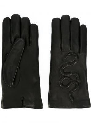 Перчатки с тиснением Gucci. Цвет: чёрный
