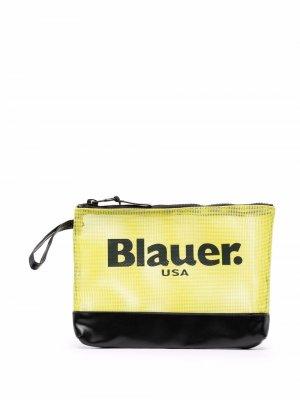 Сетчатый клатч с логотипом Blauer. Цвет: желтый