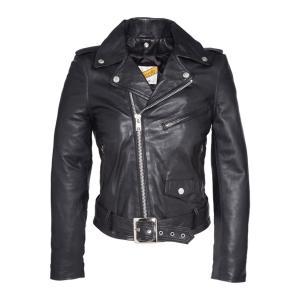 Куртка в байкерском стиле из кожи ягненка LCW8600 SCHOTT. Цвет: черный