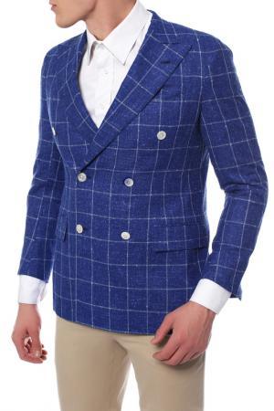Пиджак двубортный PRINCIPE DELEGANZA D'ELEGANZA. Цвет: синий, белая клетка