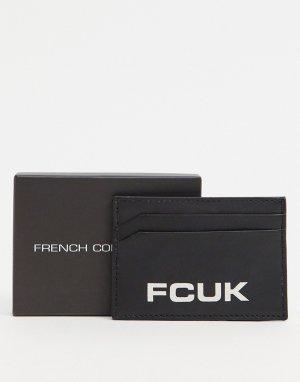Кожаная кредитница с логотипом FCUK -Черный цвет French Connection