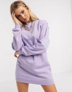 Лавандовое платье-свитер oversize с вышивкой -Фиолетовый Daisy Street