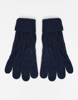 Трикотажные перчатки с узором в косичку -Темно-синий Boardmans