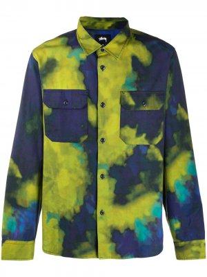 Рубашка с принтом тай-дай Stussy. Цвет: синий