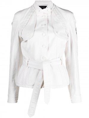 Джинсовая куртка 1990-х годов с поясом Gucci Pre-Owned. Цвет: белый