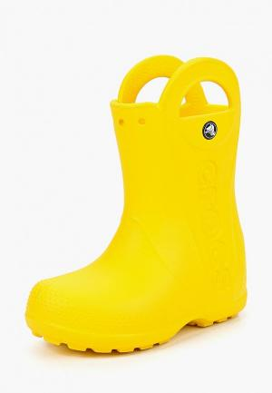 Резиновые сапоги Crocs Handle It Rain Boot Kids. Цвет: желтый
